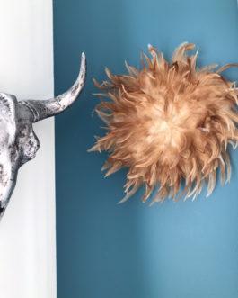 jujuhat / juju hat handmade en plumes naturelles 35 cm de diamètre – coloris fauve