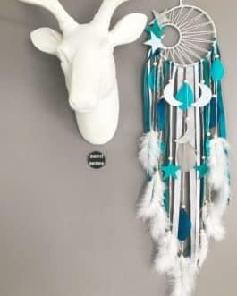 Attrape rêves Dreamcatcher tissage soleil en bleu canard, turquoise, gris et blanc avec lunes et étoiles