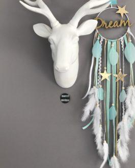 Attrape rêves Dream catcher avec inscription Dream, coloris doré, mint et blanc avec étoiles