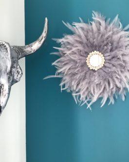 Jujuhat / juju hat handmade en plumes 35 cm de diamètre avec centre miroir – coloris gris argent