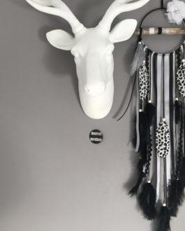 Attrape rêves Dream catcher en bois flotté gris, noir et blanc avec plumes léopard – diamètre 12 cm