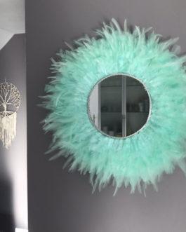 Jujuhat / juju hat miroir handmade en plumes 45 cm de diamètre avec centre miroir 20 cm –  coloris vert mint