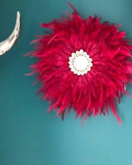 Jujuhat / juju hat handmade en plumes 35 cm de diamètre avec centre miroir – coloris cerise