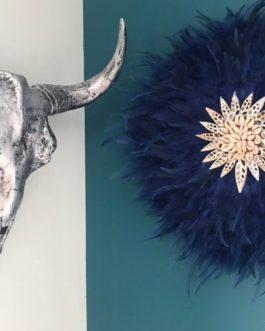 jujuhat / juju hat handmade en plumes naturelles 45 cm de diamètre – coloris bleu petrole avec coquillages