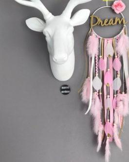 Attrape rêves Dream catcher avec inscription Dream, coloris rose poudré, doré et blanc avec fleurs et plumes paillettes
