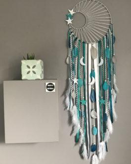 Attrape rêves dreamcatcher tissage soleil, turquoise, canard, gris et blanc geant