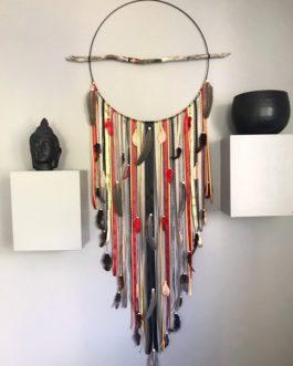 Attrape-rêves / dreamcatcher GEANT 50 cm de diamètre coloris noir, rouge, orange, doré, taupe modèle «FOX»