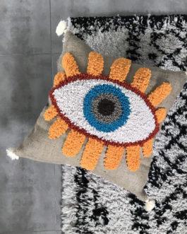 SUR COMMANDE Grand Coussin punch needle oeil en toile de jute – piece unique – coloris au choix