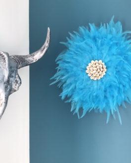 Jujuhat / juju hat handmade en plumes naturelles 35 cm de diamètre – coloris turquoise