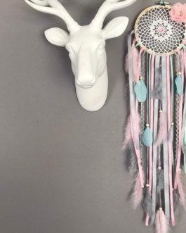 Attrape rêves Dreamcatcher en dentelle au crochet, coloris rose poudré, mint et gris