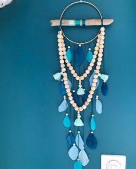 Attrape reves Dreamcatcher avec guirlandes de perles et pompons tons vert emeraude, turquoise, mint et canard