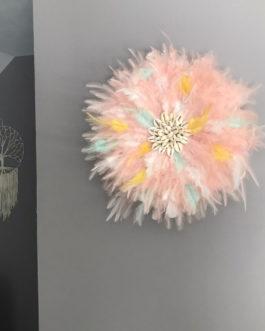 EN STOCK Jujuhat / juju hat handmade en plumes naturelles 35 cm de diamètre – coloris rose poudré, mint, blanc et jaune