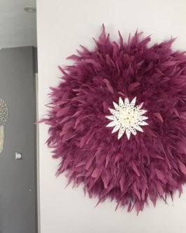 jujuhat / juju hat handmade en plumes naturelles 50 cm de diamètre – coloris prune