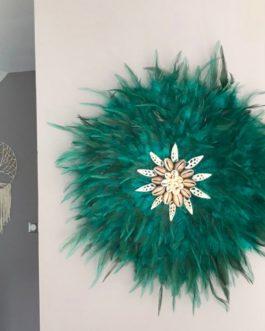 jujuhat / juju hat handmade en plumes naturelles 45 cm de diamètre – coloris bleu vert canard avec coquillages