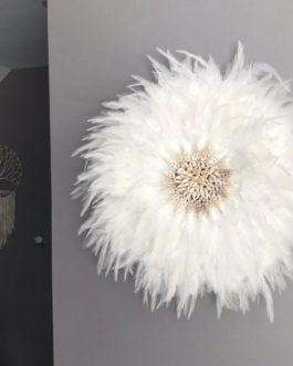 jujuhat / juju hat handmade en plumes naturelles et coquillages veritables 45 cm de diamètre – coloris blanc pur