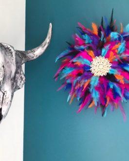 Jujuhat / juju hat handmade en plumes 35 cm de diamètre – coloris multicolore