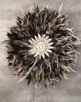 jujuhat / juju hat handmade en plumes naturelles 45 cm de diamètre – coloris taupe ecru marron noir