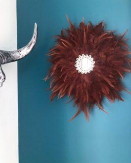 EN STOCK Jujuhat / juju hat handmade en plumes 35 cm de diamètre avec centre miroir – coloris noisette