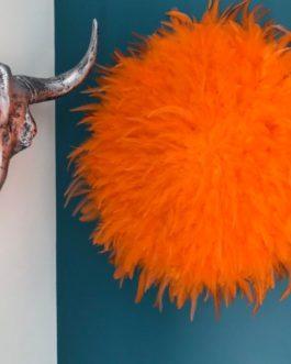 GEANT jujuhat / juju hat handmade en plumes naturelles 55 cm de diamètre – coloris orange vif
