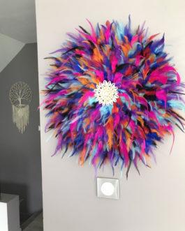 GEANT jujuhat / juju hat handmade en plumes naturelles 55 cm de diamètre – coloris multicolore avec coquillages