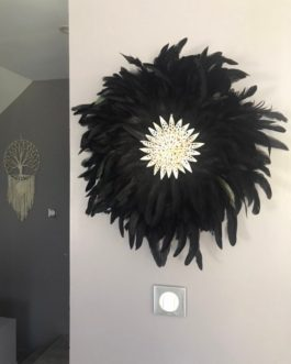 EN STOCK jujuhat / juju hat handmade en plumes naturelles 50 cm de diamètre – coloris noir avec coquillages
