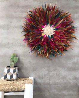 GEANT jujuhat / juju hat handmade en plumes naturelles 55 cm de diamètre – coloris multicolore