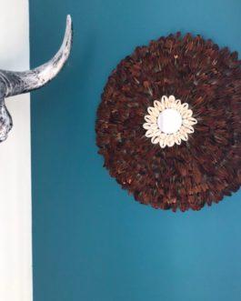 EN STOCK Jujuhat / juju hat handmade en plumes de faison 35 cm de diamètre avec centre miroir – coloris marron