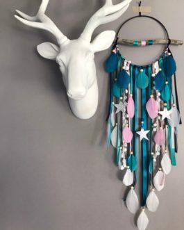 Attrape-rêves en bois flotté en bleu canard, vert, blanc, rose et noir