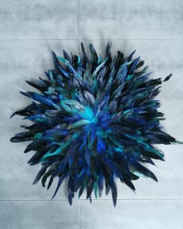 AA Jujuhat / juju hat en plume 40 cm de diamètre – coloris bleu vert