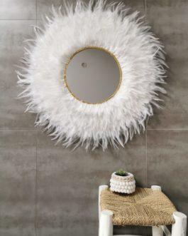 XXL Jujuhat / juju hat miroir en plumes 75 cm de diamètre – coloris blanc pur miroir 30 cm