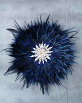 Jujuhat / juju hat en plumes 45 cm de diamètre – coloris bleu nuit