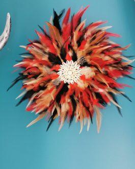 Jujuhat / juju hat en plumes 35 cm de diamètre – coloris multicolore rougle blanc et noir
