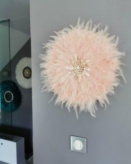 Jujuhat / juju hat en plumes 45 cm de diamètre – coloris multicolore rose poudré nude