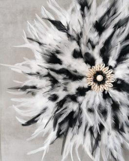 Jujuhat / juju hat en plumes 45 cm de diamètre – coloris noir et blanc avec centre coquillages bicolore