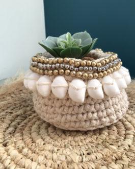 Cache pot panier crocheté main avec coquillages cousu – Bali