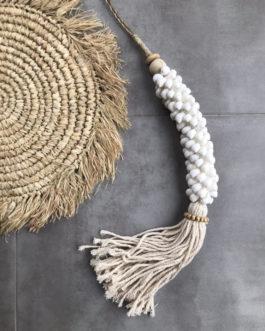 Embrase de rideau ou pompon de porte coquillages coloris blanc