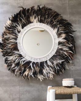 GÉANT 95 cm de diamètre Juju Hat jujuhat balinais en plumes naturelles avec centre miroir 40 cm coloris blanc, fauve, marron, noir