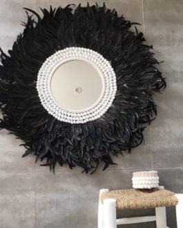 GÉANT 95 cm de diamètre Juju Hat jujuhat balinais en plumes naturelles avec centre miroir 40 cm coloris noir