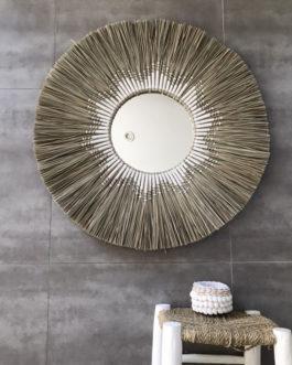 GÉANT 80 cm de diamètre Miroir soleil balinais avec centre miroir 30 cm en paille tressée et corde