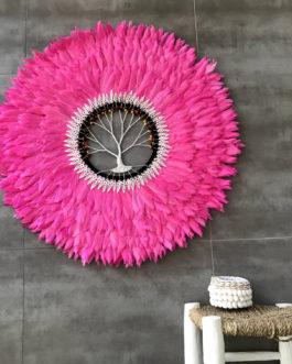 GÉANT 90 cm de diamètre Juju Hat jujuhat balinais en plumes naturelles avec centre en coquillages et arbre de vie coloris rose fuchsia