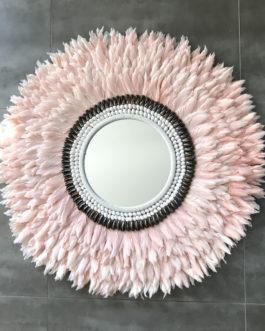 GÉANT 90 cm de diamètre Juju Hat jujuhat balinais en plumes naturelles avec centre miroir en coquillages coloris rose poudré