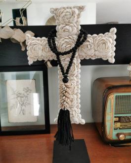Collier coquillages avec pompon pour décoration ou embrase de rideau- coloris noir