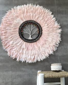 GÉANT 90 cm de diamètre Juju Hat jujuhat balinais en plumes naturelles avec centre en coquillages et arbre de vie coloris rose poudré