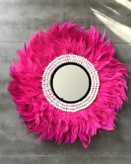 jujuhat / juju hat handmade en plumes naturelles 60 cm de diamètre – coloris rose fuschia avec coquillages et miroir