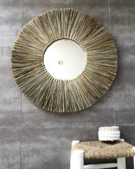 GÉANT 70 cm de diamètre Miroir soleil balinais avec centre miroir 25 cm en paille tressée