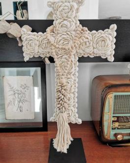 Collier coquillages avec pompon pour décoration ou embrase de rideau- coloris écru