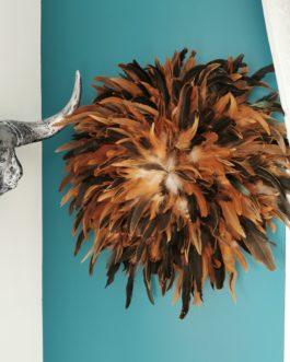Jujuhat / juju hat en plume 50 cm de diamètre – coloris fauve marron et noir