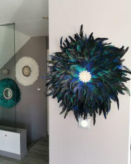 A EN STOCK GEANT Jujuhat / juju hat en plumes 65 cm de diamètre – coloris bleu vert et noir Peacock avec centre coquillages