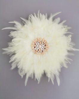EN STOCK Jujuhat / juju hat en plumes 35 cm de diamètre – coloris écru avec centre coquillages (Copie)