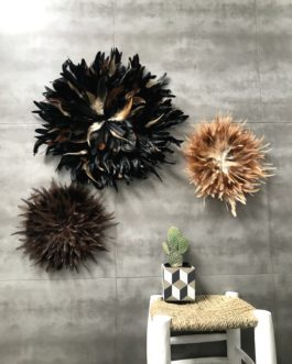 A Trio de juju hats en noir et fauve, chocolat (diamètres 50/35/35)